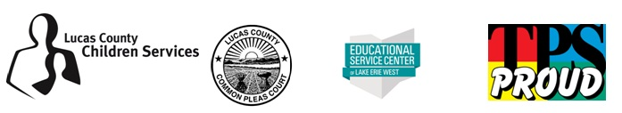 Lucas County Children Services, Lucas County Common Pleas Court, Educational Service Center, and Toledo Public Schools logo banner