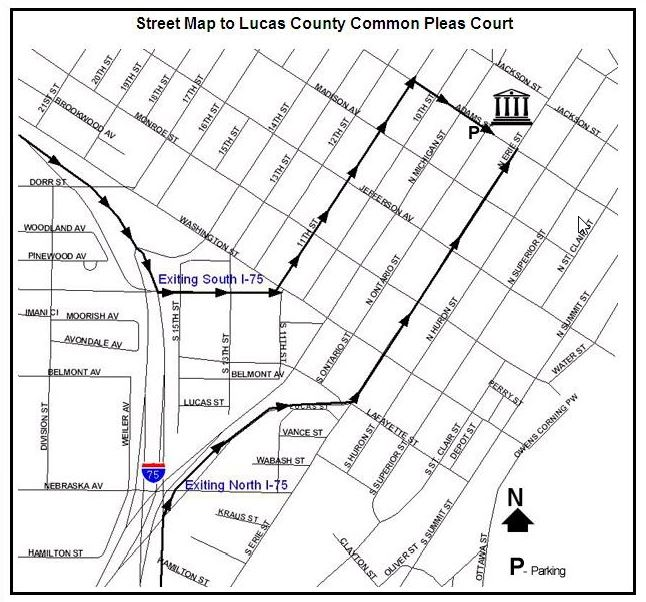 Street Map to Lucas County Common Pleas Court