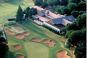 Overview of a golf course and clubhouse