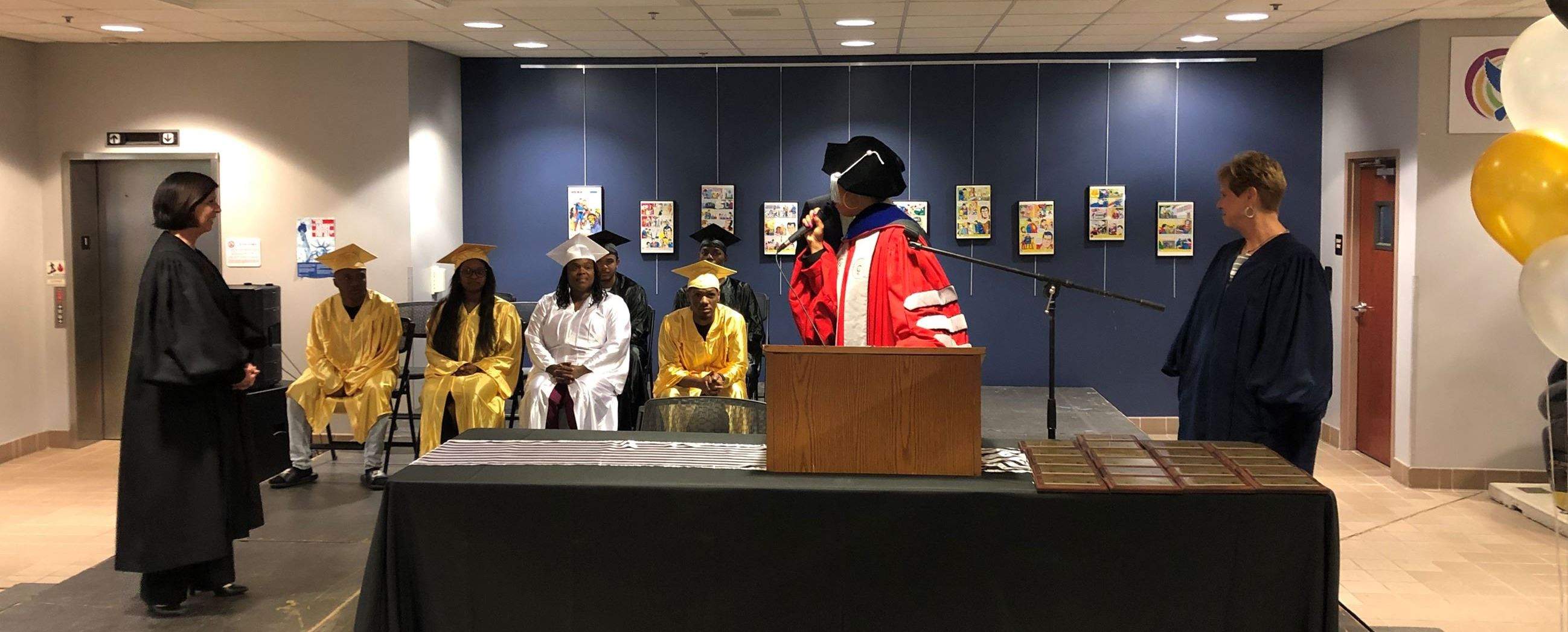 Graduate ceremony in Lucas County Juvenile Justice Center lobby